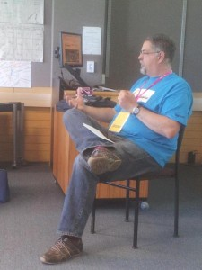 Kevin at the Nethui conference leading an accessibility session.